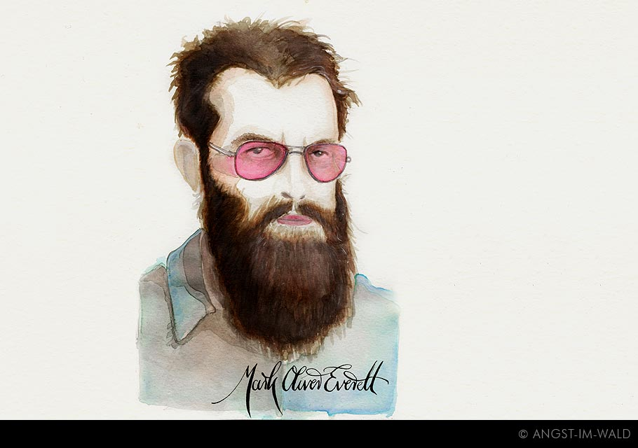images of Mark Oliver Everett Painting – crazy guy with a matted beard