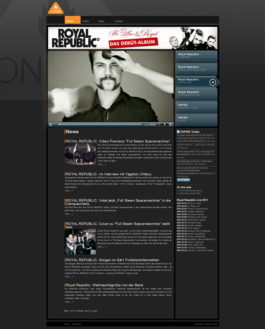 ONFIRE RECORDS – Homepage 2009