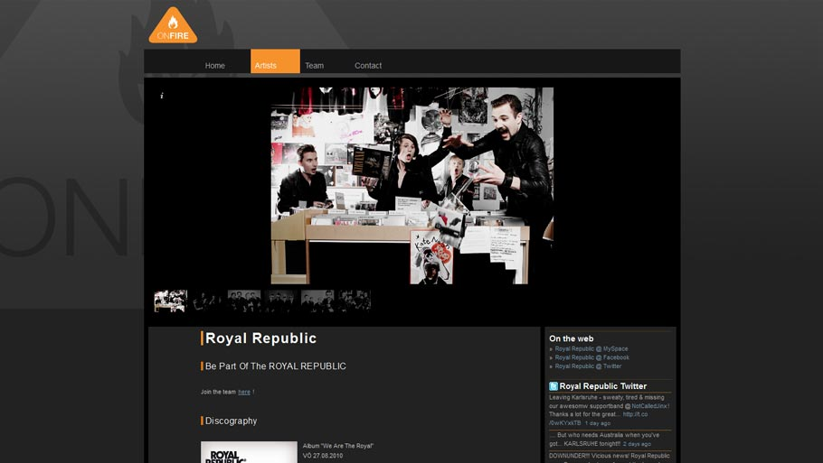 project of ONFIRE RECORDS Homepage 2009
